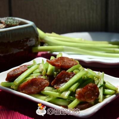 野菜成新宠-水芹菜炒腊肠