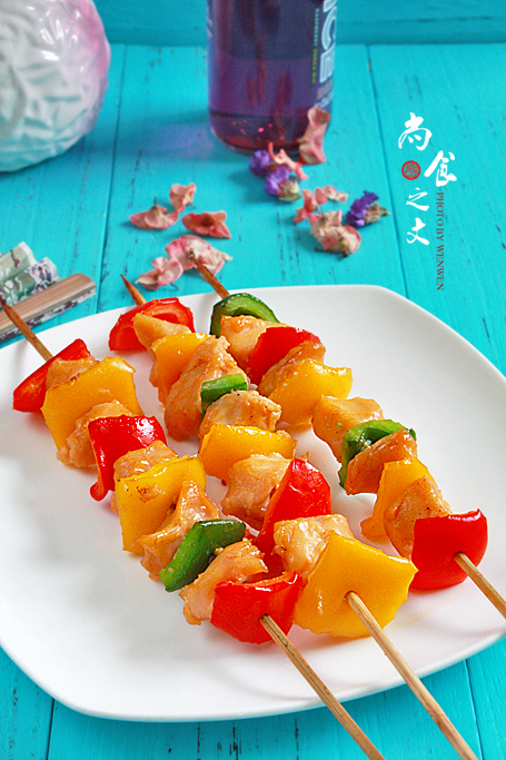 盛夏时也要好好吃起来----烤彩椒鸡肉串