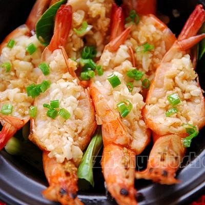 蒜香花雕砂锅虾