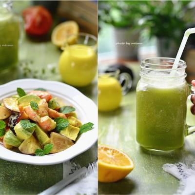 减肥早餐-鲜虾蔬果沙拉&高纤果蔬汁