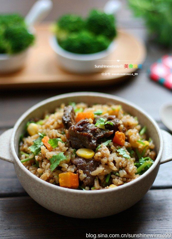 电饭煲黑胡椒杂蔬牛肉焖饭