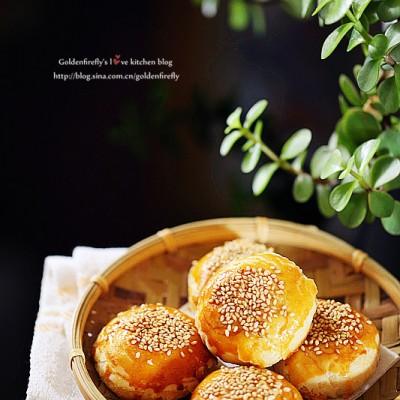 金黄香酥葱油蟹壳黄烧饼