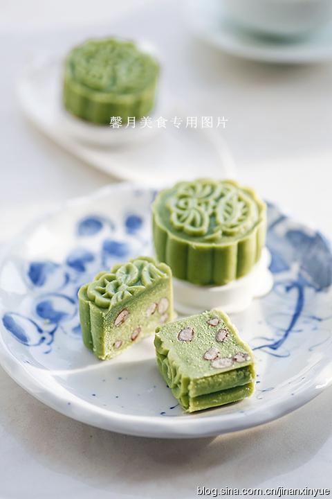 抹茶蜜红豆月饼