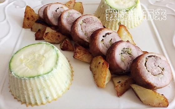 西葫芦土豆泥慕斯配烤肉