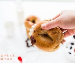#趣味美食家#葡萄干碧根果贝果-风靡美国的水煮面包