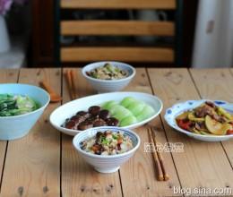 山药豆腊肉焖饭、西葫芦炒牛肉、香菇上海青、乌塌菜豆腐汤