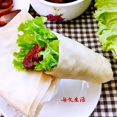 生菜卷肉、蚝油生菜