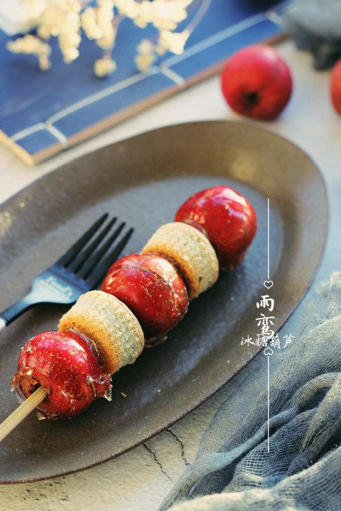 冰糖葫芦配蝶豆花布丁