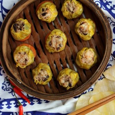 广东传统的茶点小吃-干蒸鲜虾烧卖