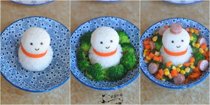 圣诞卡通小雪人香肠饭