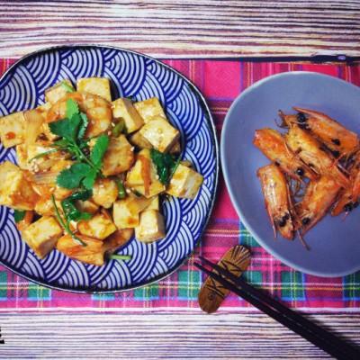 虾油烧豆腐