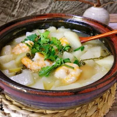 鲜虾萝卜煲