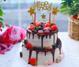 生日蛋糕图片-双层巧克力淋面生日蛋糕