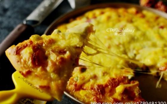 【培根披萨】家庭版做法简单,其实料更足,美味