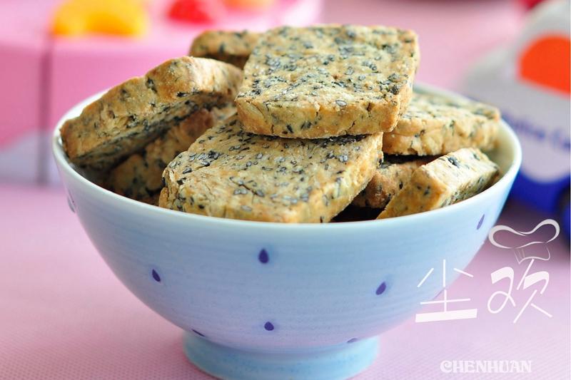 咸味小零食----黑芝麻燕麦海苔饼干