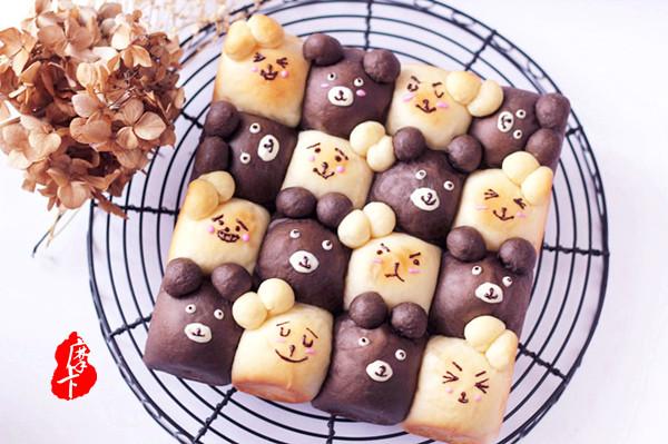 萌趣。【双色小熊挤挤面包】