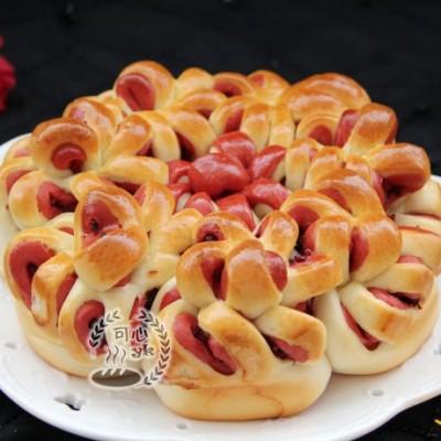 紅曲雙色淡奶油蔓越莓花朵包