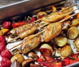 黑椒鸡翅烤蔬菜
