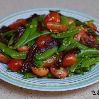 香脆爽口的甜豆樱桃番茄培根沙拉