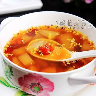 秋冬润燥必喝的汤水---桂花红枣炖雪梨