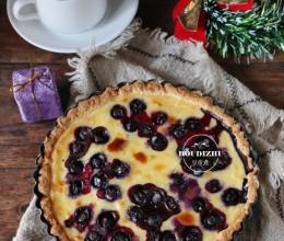 """#新浪美食福利派送#圣诞节美食不求人,教你做个好吃的""""爆浆乳酪蓝莓派"""""""