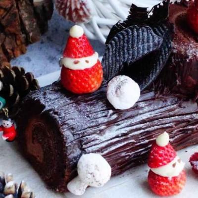 平静安宁过圣诞【圣诞树桩蛋糕】