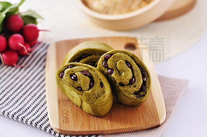 抹茶红豆卷:吃出春意的馒头