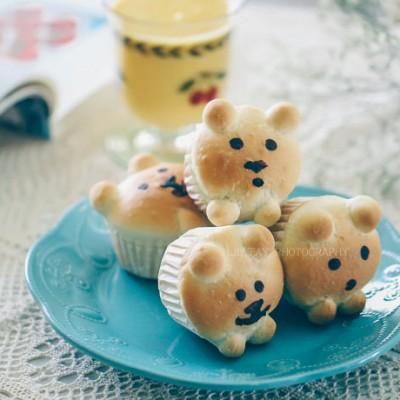【早餐°】2019-3-21:蜜紅豆小熊杯面包/南瓜奶昔