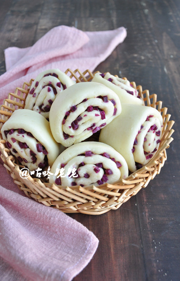【紫薯卷子】:好看好吃又营养的馒头