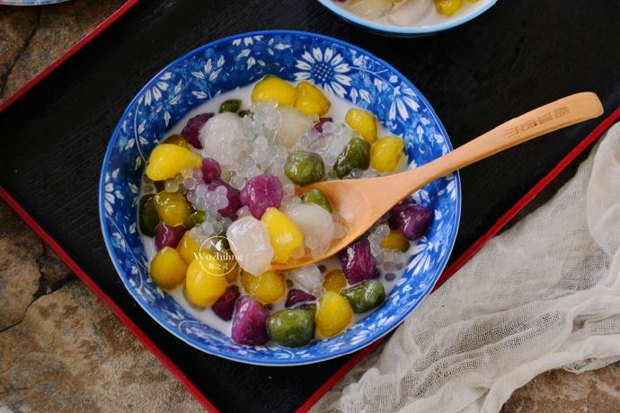 【椰香芋圆】简单美味的甜品自己做,中秋家宴露一手,人人都喜欢