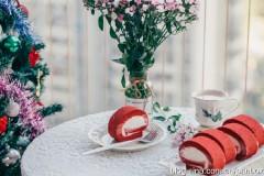 【早餐°】2019-12-4:红丝绒奶油蛋糕瑞士卷/奶茶