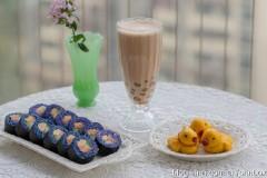 【早餐°】2019-12-9:爱琴海蓝蝶豆花紫菜包饭寿司/小黄鸭南瓜馒头/珍珠奶茶
