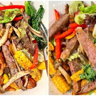 蒜香牛排蔬食沙拉