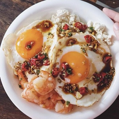 太陽蛋蝦仁拌豆腐食譜