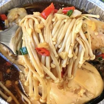 金針菇蒸雞腿