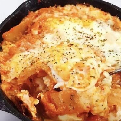 韓式辣白菜豆腐起司焗蛋