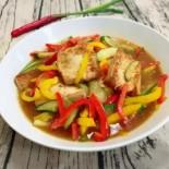 煎豆腐燴甜椒小黃瓜