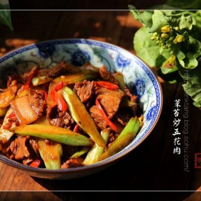 菜苔炒五花肉