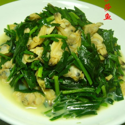 韭菜炒蚬子肉