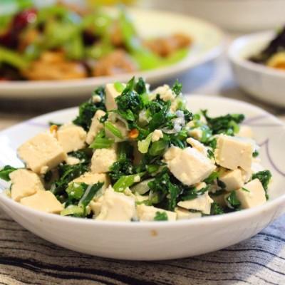 芹菜叶拌豆腐丁