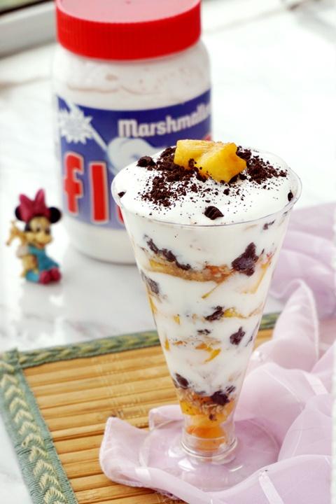 香草法罗夫黄桃酸奶杯