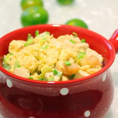 蛋卧虾仁豆腐