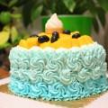 渐变蓝色花朵蛋糕