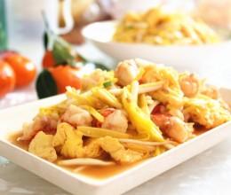 蒜黄红虾炒蛋