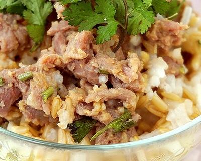 電飯鍋食譜-姜汁牛肉燜燕麥飯