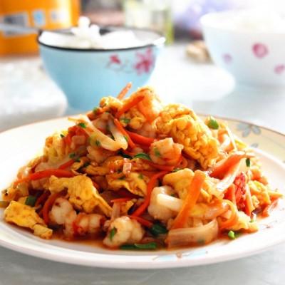白菜紅蝦炒蛋
