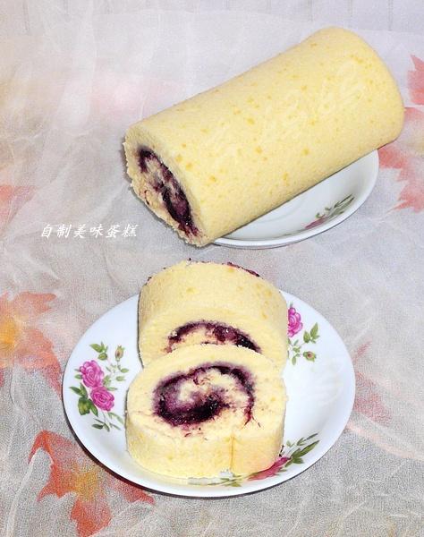 蓝莓酱肉松蛋糕卷