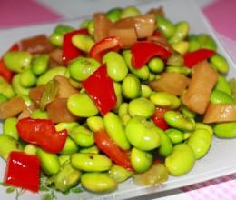 萝卜条炒毛豆