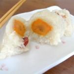 咸蛋黄腊肉粽子