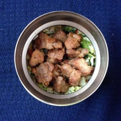 午餐便当 - 青菜咸肉蛋炒饭和炒烤肉